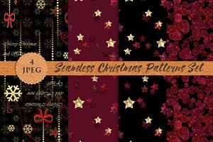 CHRISTMAS festive seamless patterns