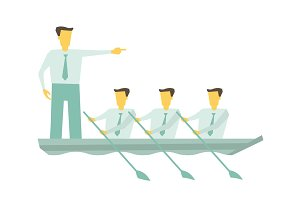 Team boat together. Business teamwork leadership concept. Leader working in team, motivating to move forward for success