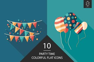 Party time flat square icon set