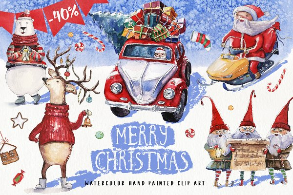 50% OFF Watercolor Christmas Pack
