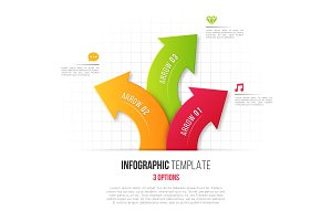 Infographics with 3 option branching circular arrows. Vector tem