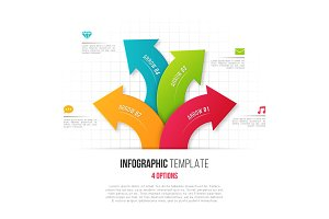 Infographics with 4 option branching circular arrows. Vector tem