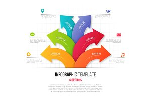 Infographics with 6 option branching circular arrows. Vector tem