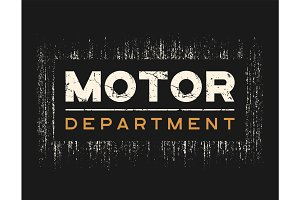 Motor dept t-shirt and apparel design with grunge effect.