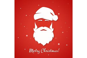 Merry Christmas greeting card with Santa Claus silhouette.