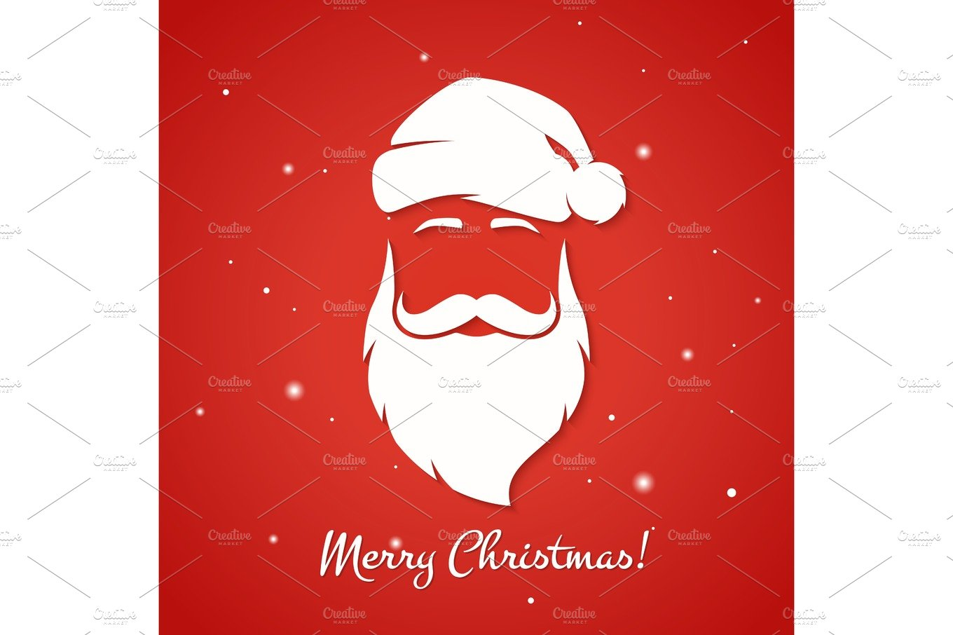 Merry Christmas Greeting Card With Santa Claus Silhouette