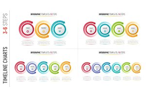 Infographic 3-6 steps process charts with circular arrows.