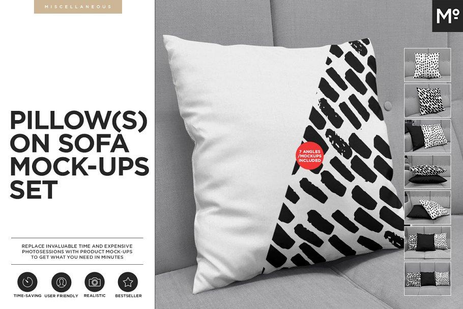 Prime Pillow On Sofa Mock Ups Set Product Mockups Creative Market Andrewgaddart Wooden Chair Designs For Living Room Andrewgaddartcom