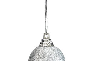 christmas ball silver isolated on white background