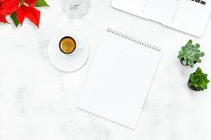 Laptop coffee book Christmas flower