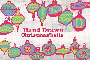 Hand Drawn Christmas Balls in Vector