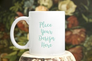 White coffee mug mock up rustic psd