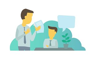 Two businessmen situation at work. Workflow man with documents paper office, work manager question.