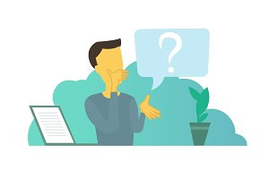 Office man with big question. Problem and solution search think