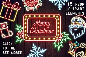 Retro Merry Christmas Neon Set