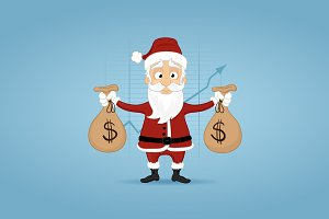 Santa With Money Bags