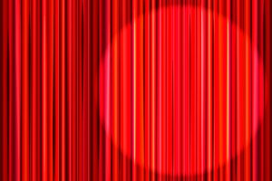 Bright red curtain