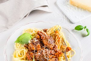 Hearty spaghetti with meatballs in tomato sauce
