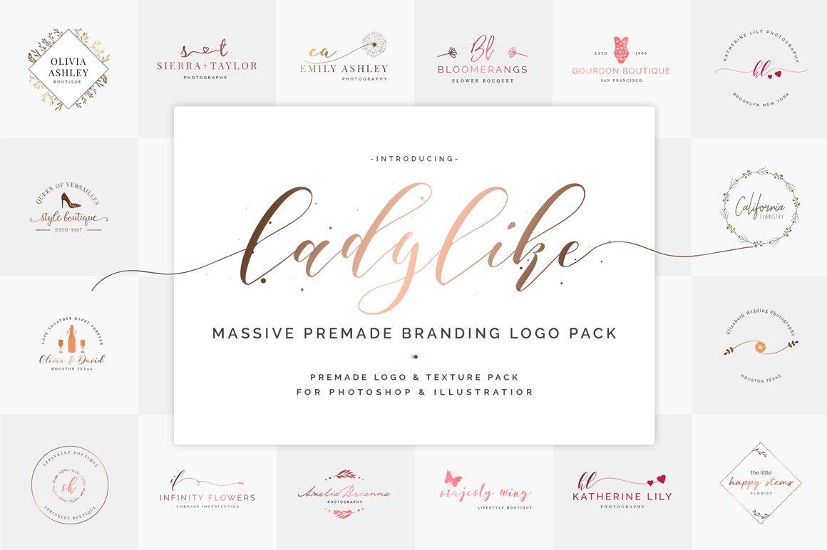 Ladylike Premade Branding Logos ~ Logo Templates