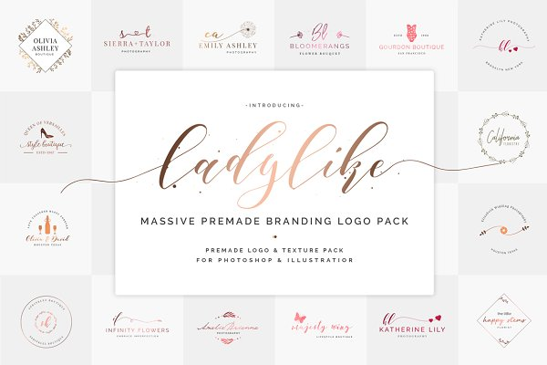 Ladylike Premade Branding Logos