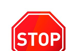 Stop red glossy road sign