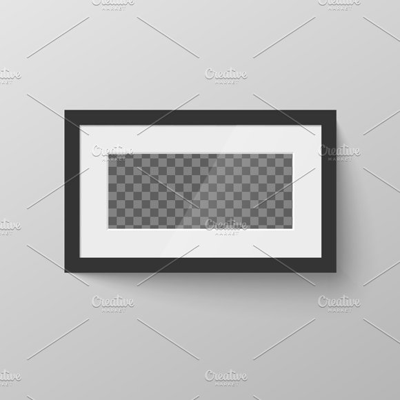 Horizontal Black Blank Picture Frame