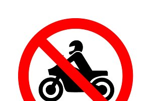 No motorcycle forbidden sign