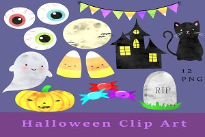 Cute Watercolor Halloween Clip Art