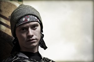 Paintball player portrait