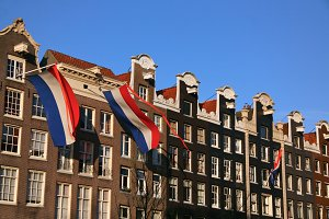 Dutch flags on Prinsengracht house