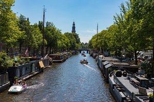 Houseboats at the Prinsengracht.