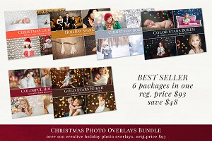 Christmas photo overlays - bundle