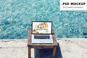 Computer PSD Mockup at the beach