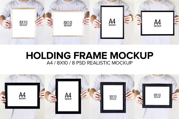 Holding Frame Mockup-Graphicriver中文最全的素材分享平台