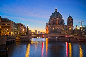 Berlin Cathedral on Spree river at night, Berlin