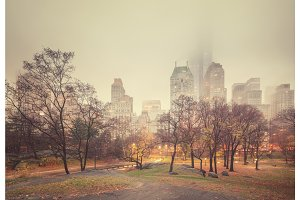 NY Central park at rainy morning