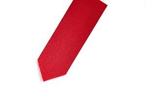 Red ribbon bookmark on white background