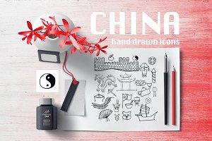 CHINA hand drawn icons