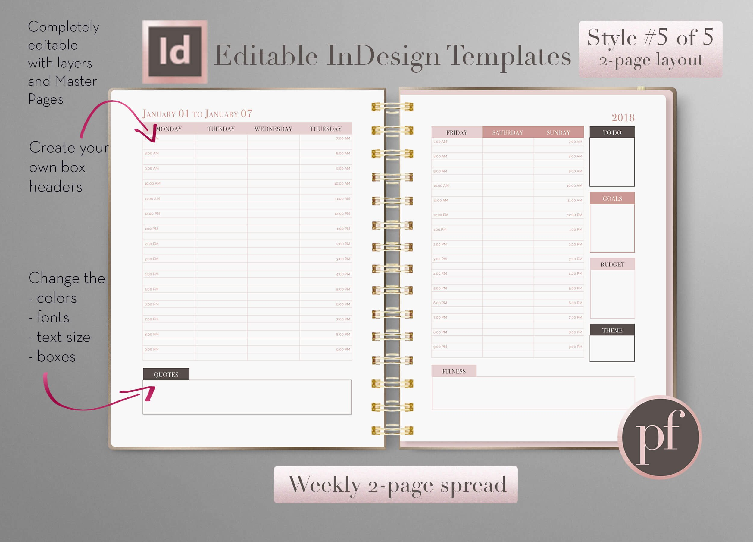 weekly calendar indesign template stationery templates creative market. Black Bedroom Furniture Sets. Home Design Ideas