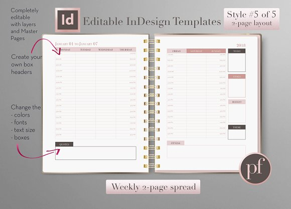 Weekly Calendar Indesign Template Stationery Templates