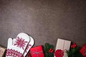 Christmas background with gift boxs