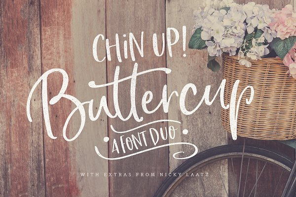 Chin Up Buttercup! Font Duo & Extra…