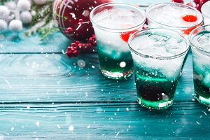 Christmas holiday party background with drinks