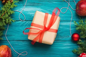 Christmas green frame background with gift box