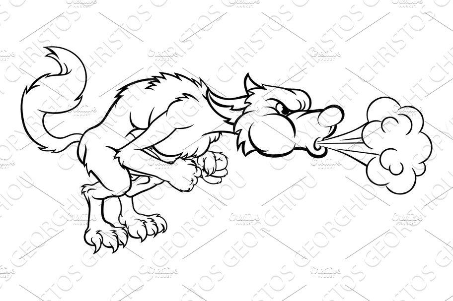 Three Little Pigs Big Bad Wolf Blowing ~ Illustrations