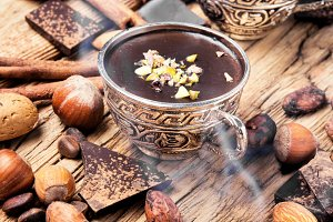 Melting chocolate,spice and nuts