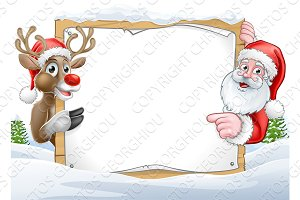 Christmas Santa and Reindeer Sign Background