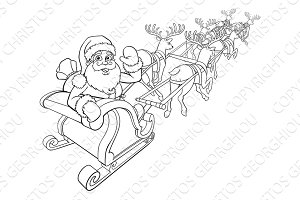 Santa Claus and Reindeer Christmas Sleigh Sled