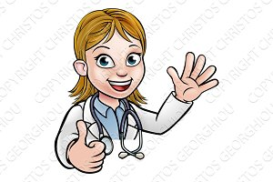 Doctor Cartoon Character Sign Thumbs Up