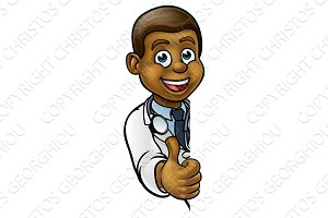 Black Doctor Thumbs Up Cartoon Character Sign